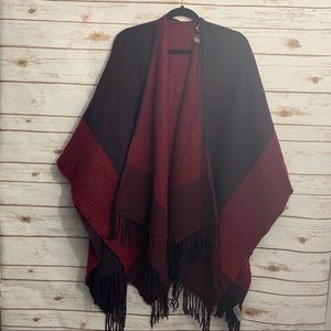 Soft Surroundings Wrap Sweater Shawl Fringe Hem